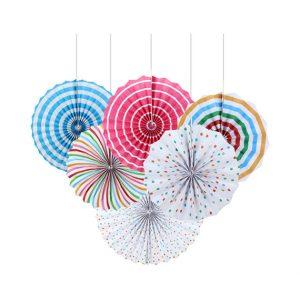 Colored Paper Fans Set