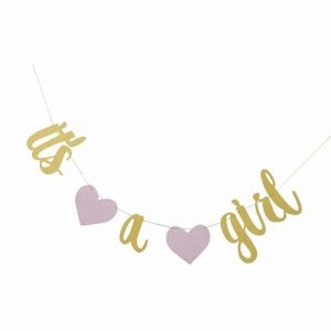 It's a Girl Sparkling Pink and Gold Bunting
