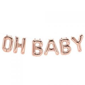 Oh Baby Rose Gold Balloon Banner