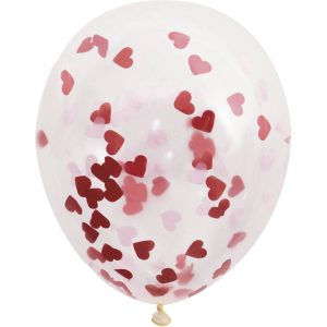 Red Heart Confetti Balloon
