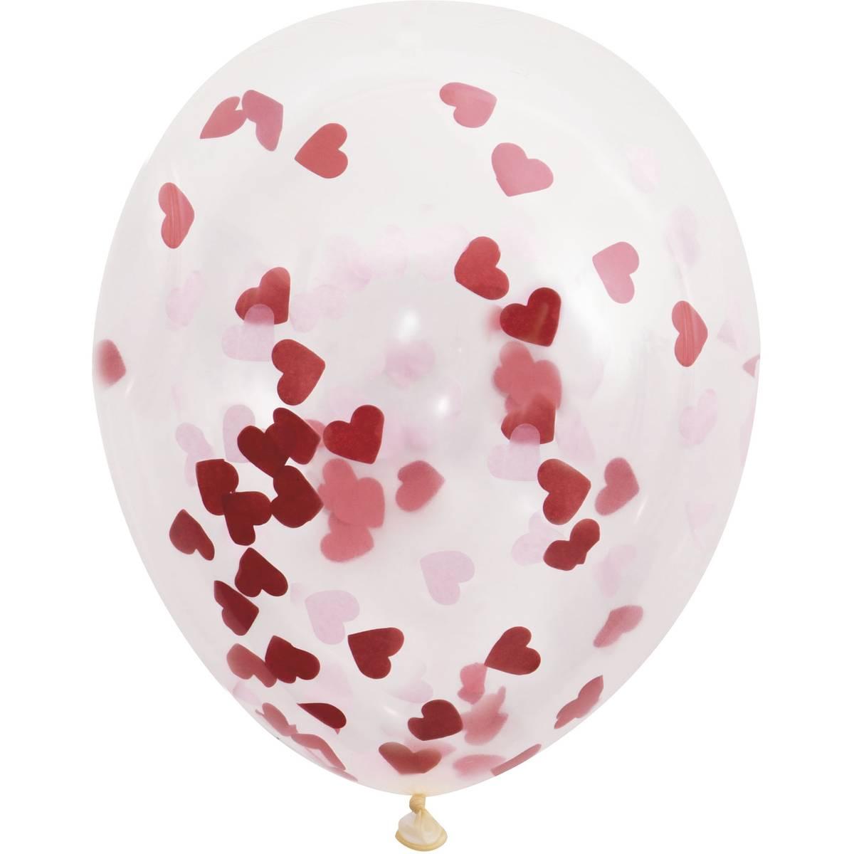 Red Heart Confetti Balloon
