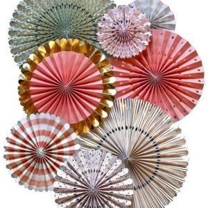 Pink, Gold and Mint Paper Fan Set