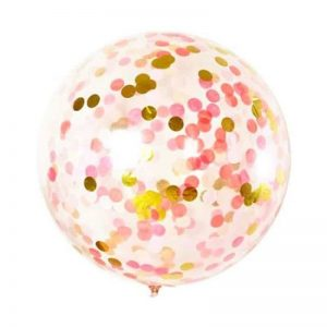 Giant 36 inches Pink and Gold Confetti Balloon
