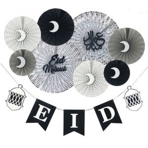 Eid Mubarak Party Paper Fans and Banner