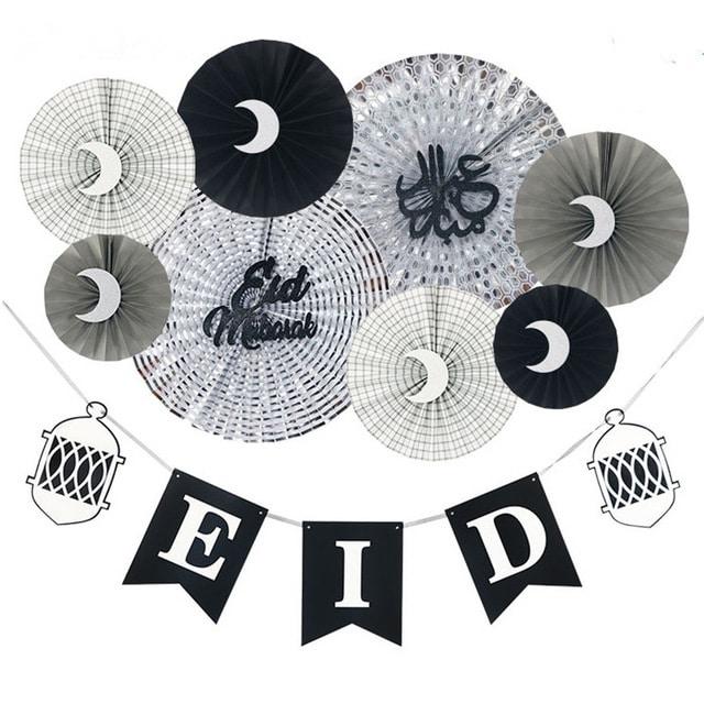 Eid Mubarak Party Paper Fans and Banner