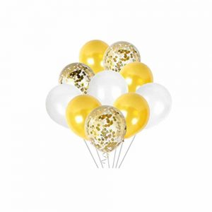 Gold, White, and Gold Confetti Balloon