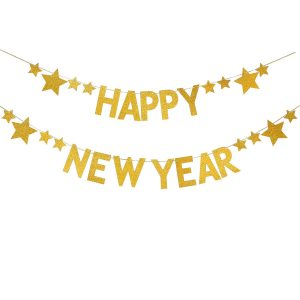 Glittering Gold Happy New Year Banner