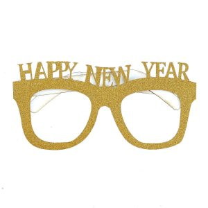 Happy New Year Glittering Gold Glasses