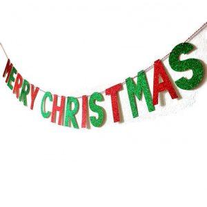 Merry Christmas Glittering Banner
