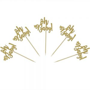 Oh Baby cupcake toppers Gold