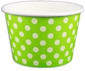 Green Dots Ice cream paper cups - 12 PCs per pack