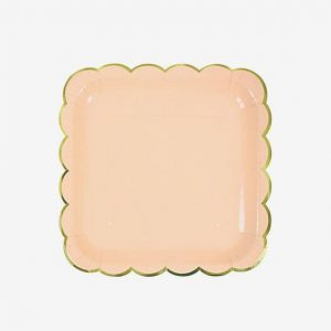 Solid Peach with Gold Edges Square Plates – Big