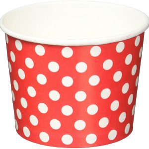 Red Dots Ice cream paper cups - 12 PCs per pack