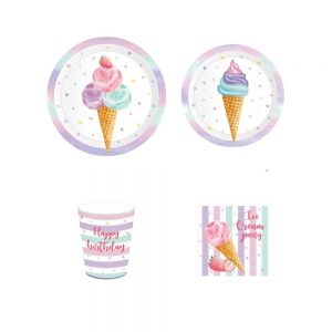 Happy Birthday Ice Cream Party Tableware Set