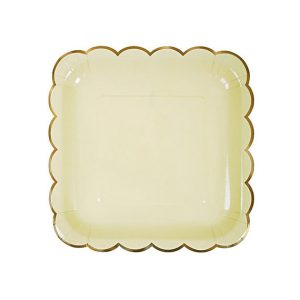 Solid Yellow with Gold Edges Square Plates – Big