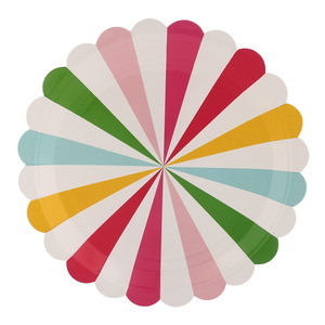 Candy Colorful Striped Round Disposable Paper Plates