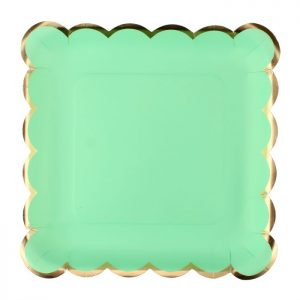 Solid Mint Green with Gold Edges Square Plates – Big
