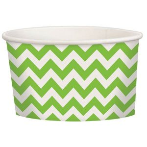 Green Chevron Ice cream paper cups - 12 PCs per pack