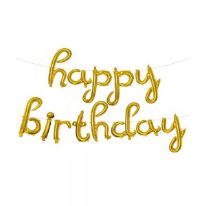 Script Happy Birthday Foil Balloon Banner