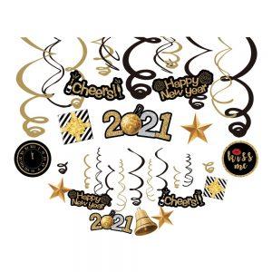 Happy New Year 2021 Hanging Swirls