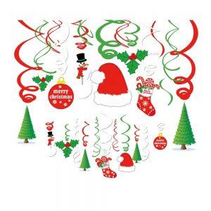 Merry Christmas Hanging Swirls