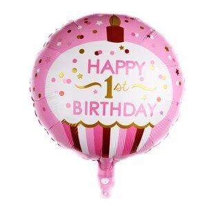 pink dot birthday foil
