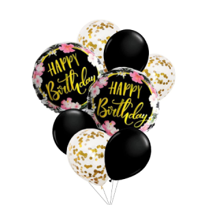 BLACK FLORAL HAPPY BIRTHDAY ROUND FOIL BALLOONS