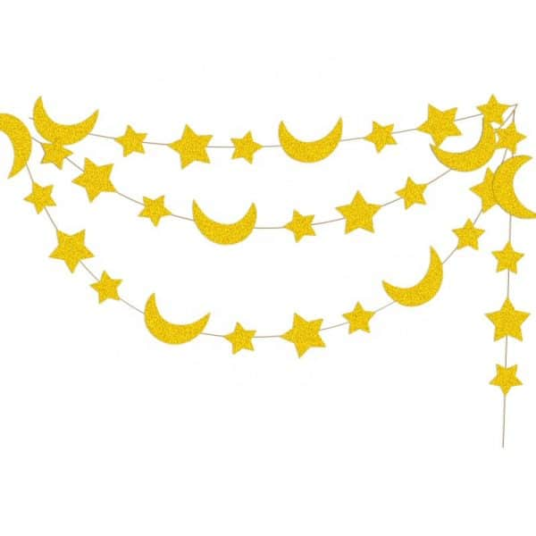 Star and Crescent Moon Hanging Garland