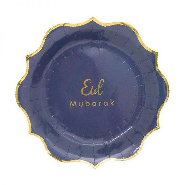 Gold Eid Mubarak Plates