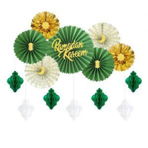 Green and Gold Ramadan Kareem Paper Fans Set