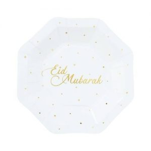 white and gold eid plate 1