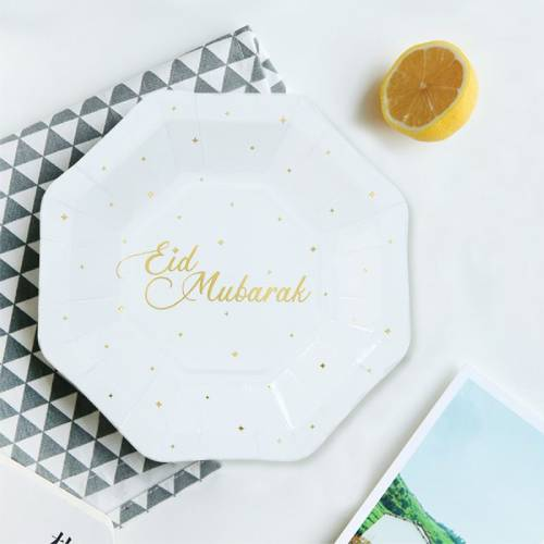 white and gold eid plate 2