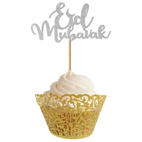 Eid cupcake topper silver 02