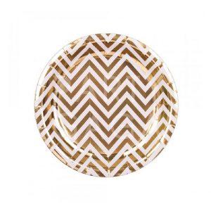 Gold Chevron Round Plates