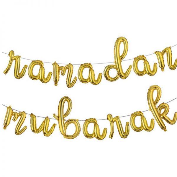 Ramadan Mubarak Gold Foil Balloon Banner