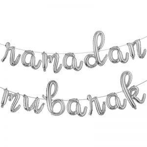 Ramadan Mubarak Silver Foil Balloon Banner