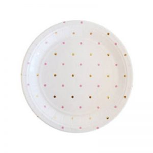ose Gold Polka Dot Round Plates