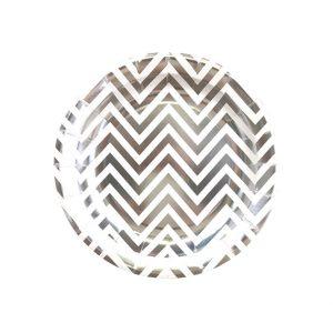Silver Chevron Round Plates