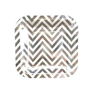 Silver Chevron Square Plates