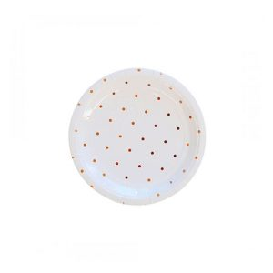 Rose Gold Polka Dot Round Plates