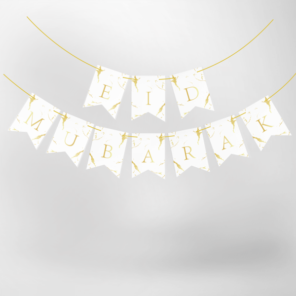 Eid Mubarak Marble stamping banner white