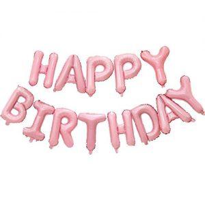 Happy birthday pink balloon banner