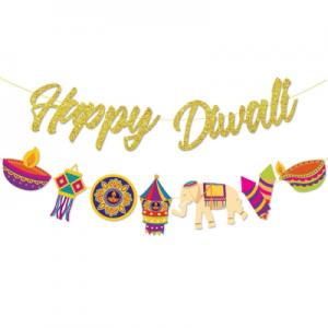 Gold happy diwali banner