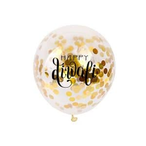 happy diwali gold confetti balloon